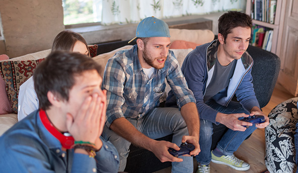 Group of people playing video games