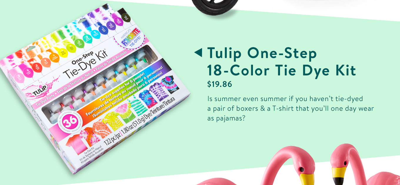 Tulip One-Step 18-Color Tie Dye Kit. $19.86. Is summer even summer if you haven't tie-dyed a pair of boxers & a T-shirt that you'll one day wear as pajamas?