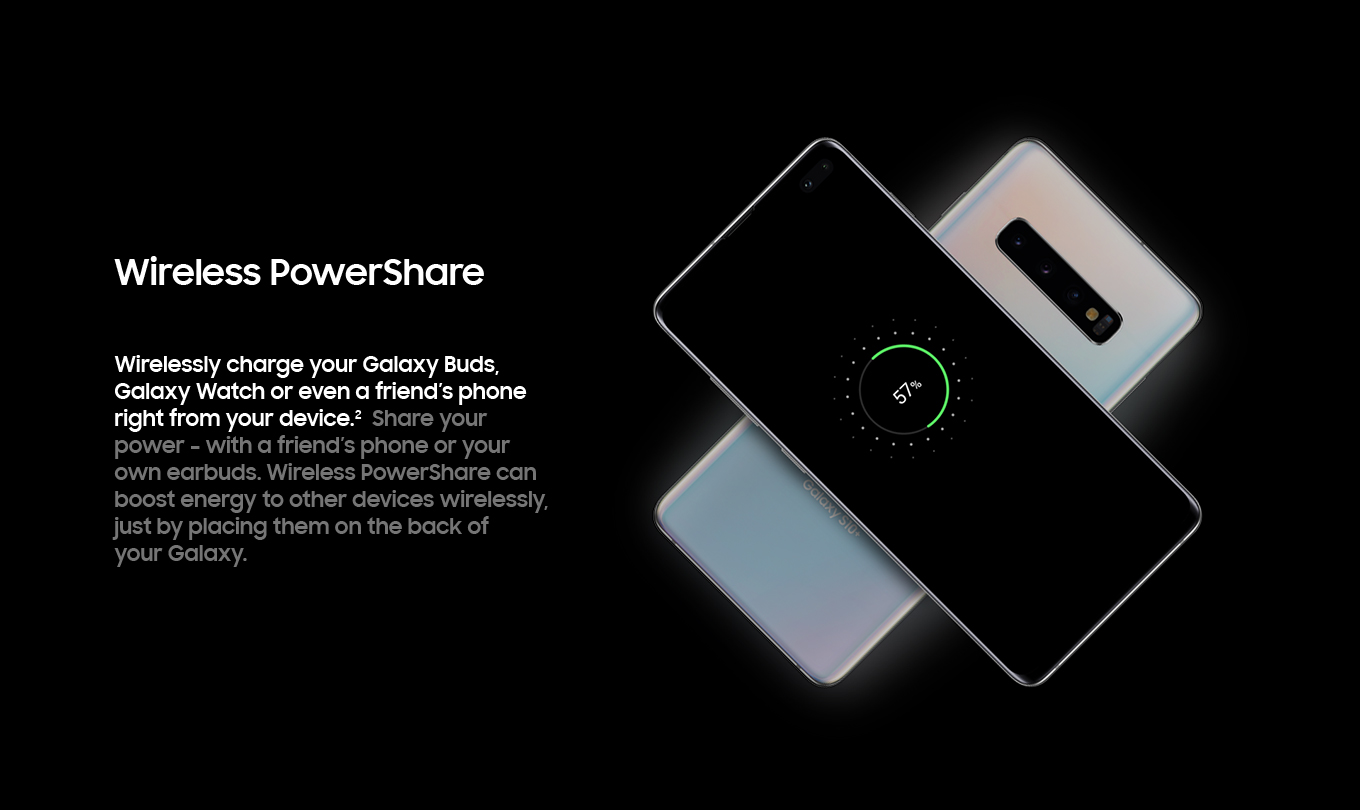 Wireless PowerShare. Wirelessly charge your Galaxy Buds. Galaxy Watch or even a friend's phone right from your device.