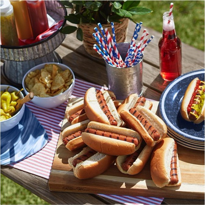 A picnic table decorated for the 4th of July with hot dogs, soda pop, and red, white, and blue dishes and napkins. Links to a place to buy 4th of July outdoor entertaining items.