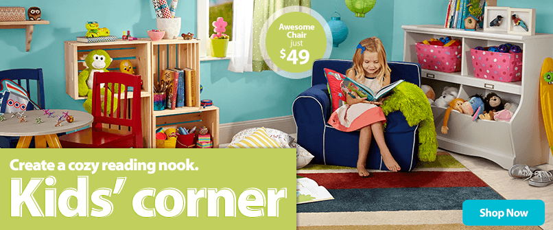 Create a cozy reading nook. Shop Kids' Corner