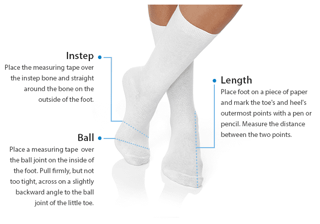 To measure Instep, place the measuring tape over the instep bone and straight across the bone on the outside of the foot. To measure Ball, place a measuring tape over the ball joint on the inside of the foot. Pull firmly, but not too tight, across on a slightly backward angle to the ball joint of the little toe. To measure Length, place foot on a piece of paper and mark the toe and heel's outermost points with a pen or pencil. Measure the distance between the two points.