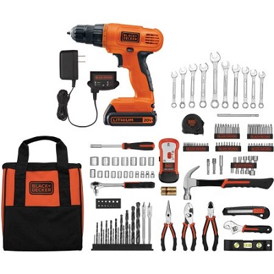 BLACK+DECKER 20-Volt Lithium Ion Cordless Drill-Driver with 128-Piece Project Kit