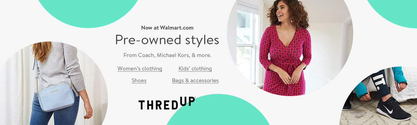 Thredup. Pre-owned styles from Coach, Michael Kors, and more' now at Walmart.com. Shop women's clothing. Shop kids' clothing. Shop shoes. Shop bags & accessories.