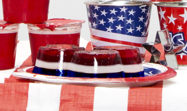 Red, White and Blue Layered Jell-o Mini Bundts