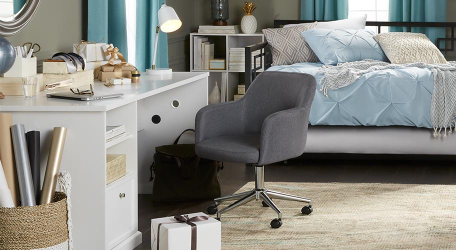 Double-duty room. With fall upon us, now's the time to make those much-needed home updates. Get your work space spruced up with stylish home office furniture plus a daybed that'll be a cozy spot for overnight guests too.