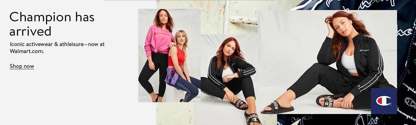Champion has arrived. Iconic activewear and athleisure. Now at Walmart.com. Shop women's plus.