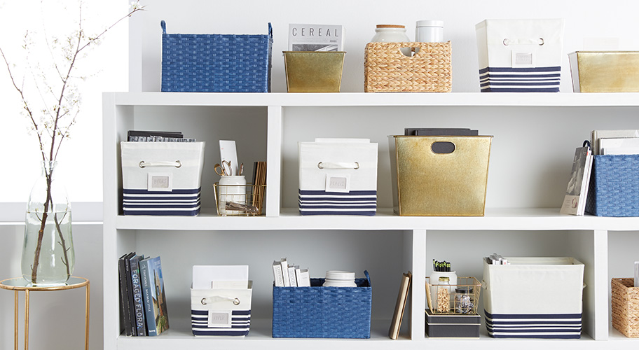 File under: stylish. When everything is in the right place, you can get down to the task faster. Get ahead on your spring cleaning with a mini home-office makeover—we have chic cubes & bins designed to fit perfectly onto shelves.