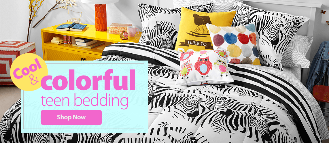 Cool & colorful teen bedding.