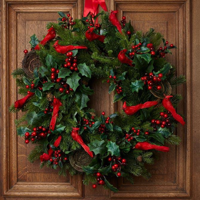 Christmas door wreath: red birds & berries