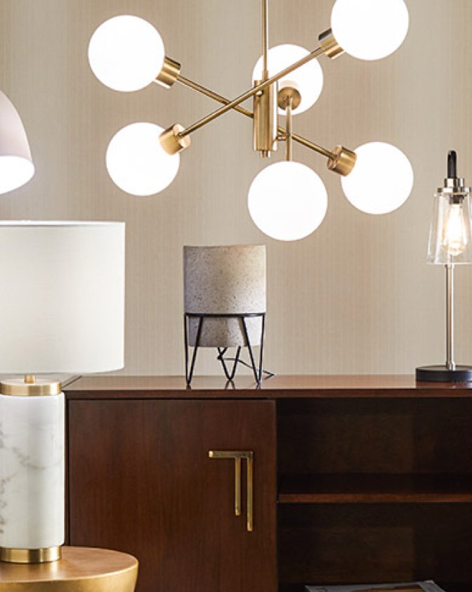 A sputnik chandelier and modern lamps and lighting. Shows which lighting is best for home.