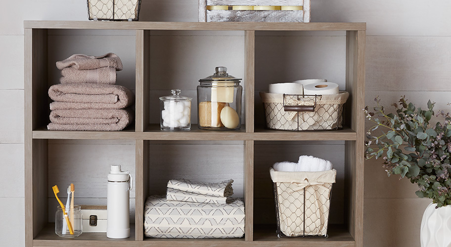 Tidy up. A neat and organized space is a welcome sight for all. With a curated collection of baskets, cubes, and closet storage, it's easy to stash things away—and looks beautiful, too.