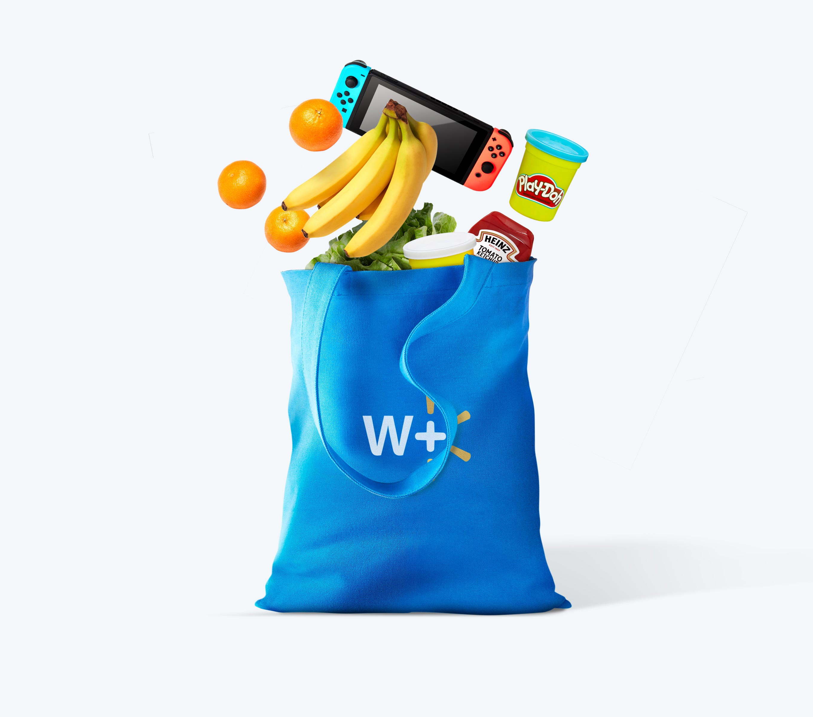 Walmart tote bag filled with products