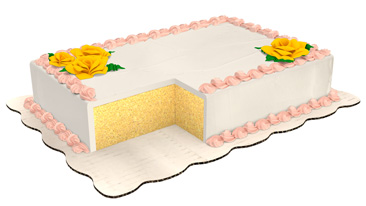 Custom sheet cake with white icing and balloons. Learn how to order your custom cake online.
