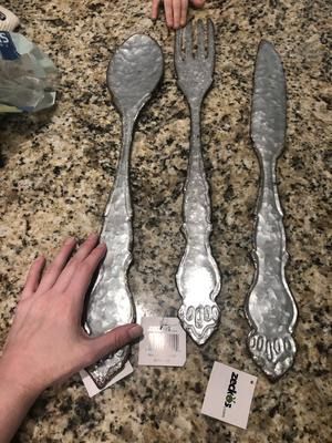 Giant Galvanized Metal Fork Spoon Knife Farmhouse Decor Kitchen Wall Hanging Set Walmart Com Walmart Com
