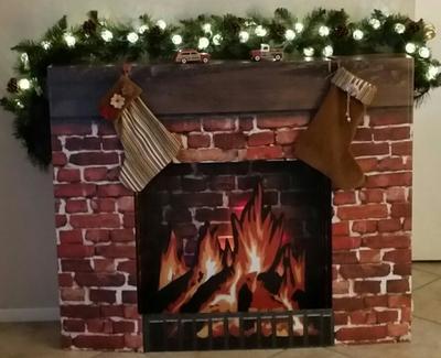Cardboard Christmas Fireplace.Fireplace Prop Cardboard Stand Up Walmart Com