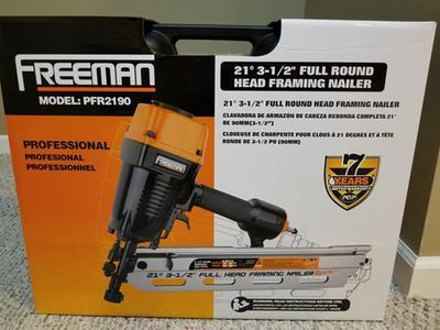 "Freeman PFR2190NQ Pneumatic 21 Degree 3-1//2/"" Framing Nailer  NEW"