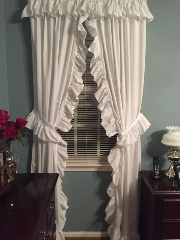 Ellis Curtain Priscillas Wide Ruffle, Blue Priscilla Curtains