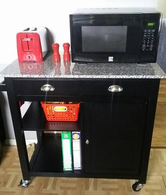 Better Homes & Gardens Kitchen Cart, Black/Granite Top ...