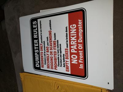Traffic Signs Dumpster Rules No Parking Sign 12 x 18 Aluminum Sign Street Weather Approved Sign 0.04 Thickness