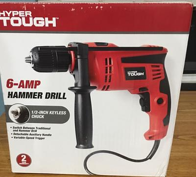 Hyper Tough 6 0-Amp 1/2-Inch Corded Hammer Drill, DL1137