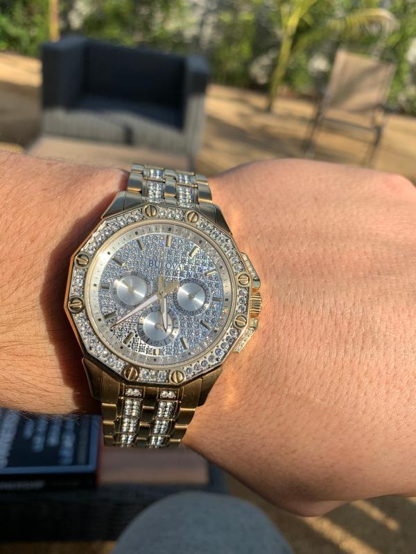 Bulova Men's Swarovski Crystal Watch - Gold-Tone - Bracelet - Pave Dial