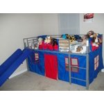 Boys Twin Loft Bed With Slide Grey And Blue Walmart Com