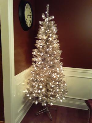 Holiday Time Pre Lit Rose Gold Tinsel Christmas Tree 6 5 Clear Walmart Com Walmart Com