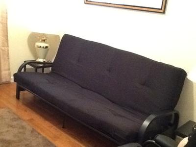 Mainstays Black Metal Arm Futon With Full Size Mattress