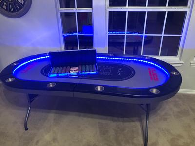 Amazing Espn 10 Player Premium Poker Table With In Laid Led Lights No Assembly Required Foldable Gray Beutiful Home Inspiration Xortanetmahrainfo