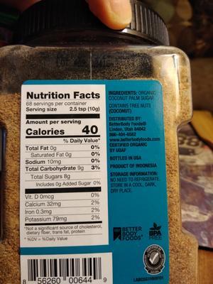 BetterBody Foods Organic Coconut Sugar 1 25 lbs