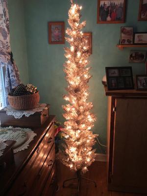 Holiday Time Pre Lit Rose Gold Tinsel Christmas Tree 6 Clear Walmart Com Walmart Com