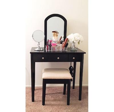 Mainstays Mirror Vanity With Bench Powered Outlet And 2 Usb Ports Black Walmart Com Walmart Com