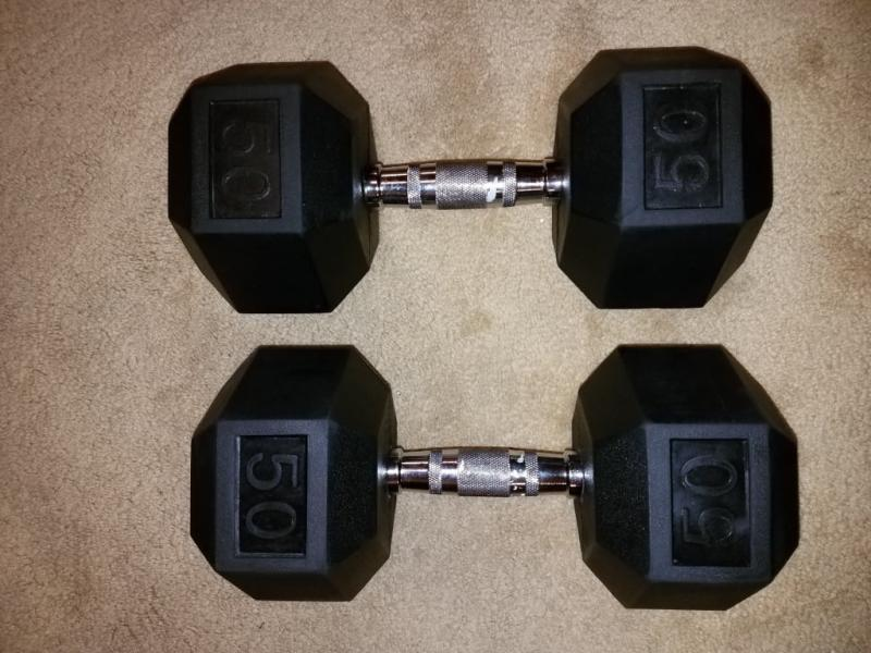 Details about  /35LB Pair Of Weider Rubber Coated Hex Dumbells 70lbs Total Weight CAP FREE SHIP