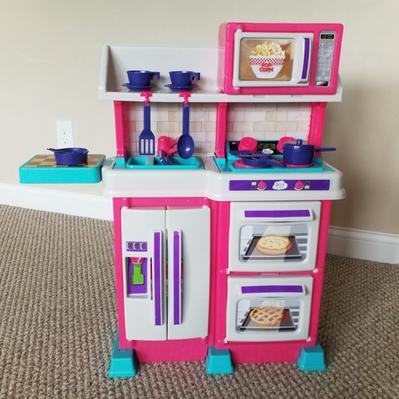 Spark Create Imagine Play Kitchen With 18 Piece Accessory Play Set Pink Walmart Com Walmart Com