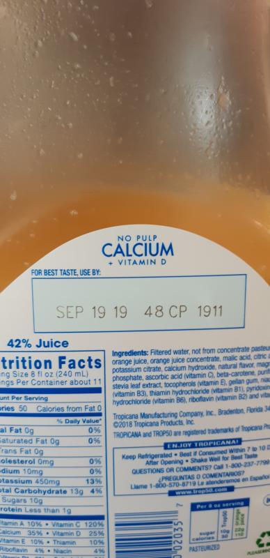 Tropicana Trop 50 No Pulp Orange Juice