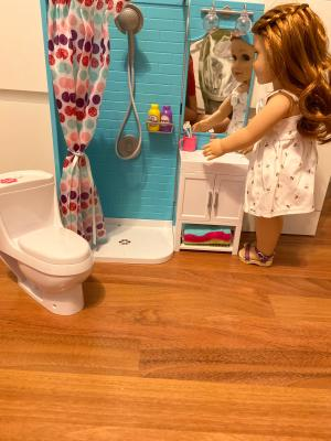 My Life As Bathroom Play Set With Shower And Light Up Vanity For 18 Doll 17 Pieces Walmart Com Walmart Com