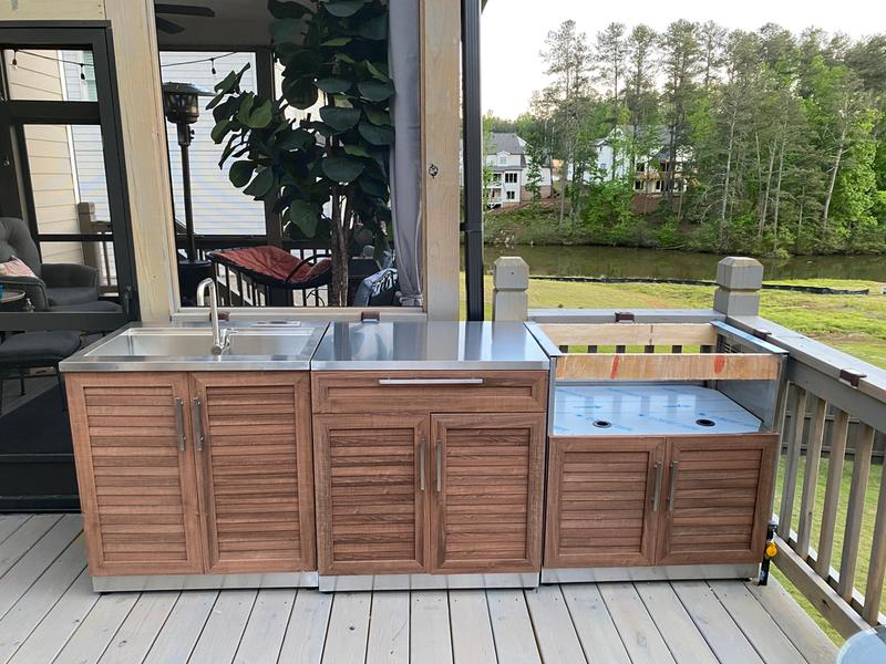 Newage Outdoor Kitchen 4 Piece Set With 40 Inch Insert Grill Cabinet Sink Bar Center And Cover Walmart Com