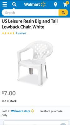 Brilliant Us Leisure Resin Big And Tall Lowback Chair White Walmart Com Creativecarmelina Interior Chair Design Creativecarmelinacom