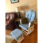 Angel Line Windsor Glider And Ottoman Natural With Gray