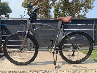 "Kent 26"" Mens Bayside Cruiser Bike Bicycle Beach 7 Speed Satin Cocoa Black Brown"