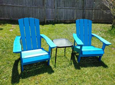 Lancaster Home Charlestown All-Weather Adirondack Chair in Faux Wood Sea Foam