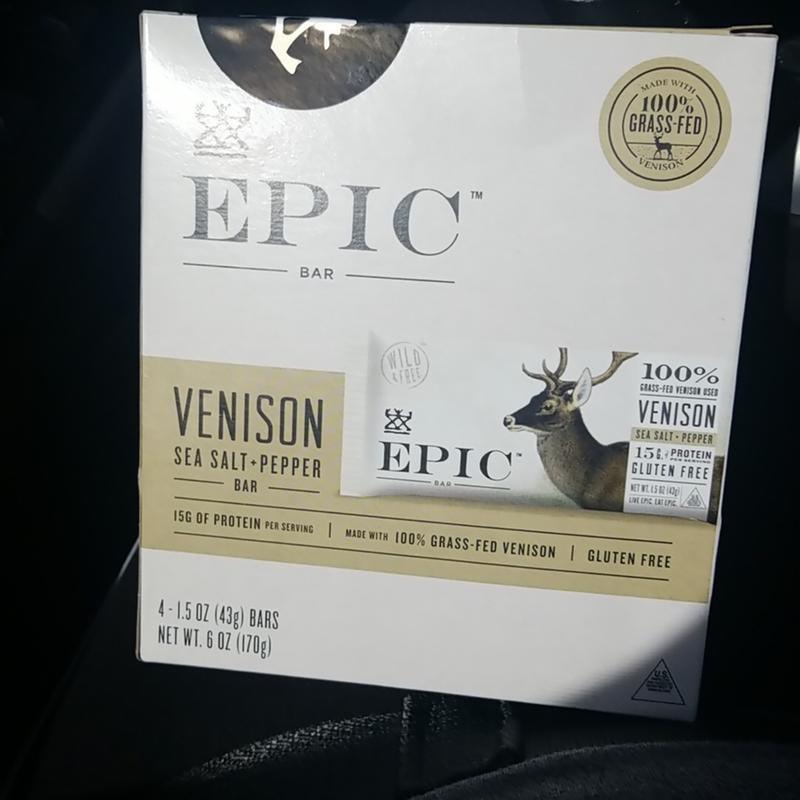 Epic Venison Sea Salt Pepper Bar 12 Ct Box Of 1 5 Oz Bars Walmart Com Walmart Com