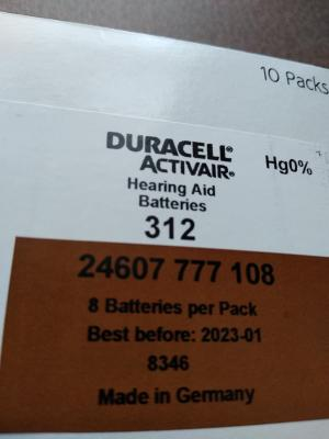 image regarding Duracell Hearing Aid Batteries 312 Coupons Printable referred to as Duracell listening to help batteries dimensions 312 (80 pack)