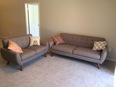 Cool Poundex F6914 Bobkona Sonya Linen Like 2 Piece Sofa And Loveseat Set Laguna Theyellowbook Wood Chair Design Ideas Theyellowbookinfo