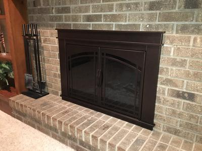 Pleasant Hearth Farlane Cabinet Prairie Arch Style Fireplace Glass