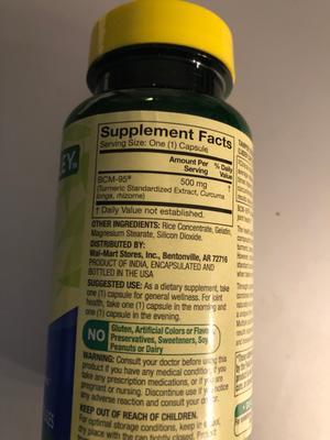 Spring Valley Turmeric Curcumin Capsules 500 mg, 30 ct