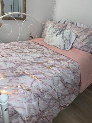 Your Zone Metallic Marble Comforter, Marble Queen Bedding