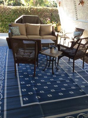 Patio Mats Reversible Indoor Outdoor Rug Greek Key Pattern Size 9 X12 Walmart Com Walmart Com