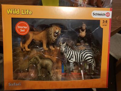 Schleich Vie Sauvage Animal Starter Set Jouet en plastique Zoo Zèbre Lion Chimpanzé nouveau